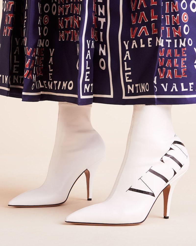 Valentino Garavani VLTN Logo Point-Toe Sock Booties