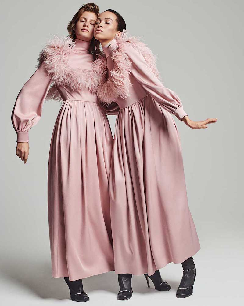 Valentino Ostrich Feather-Trim Cady Gown