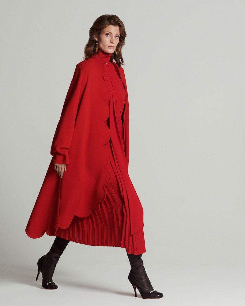 Valentino Scalloped-Edge Wool-Crepe Coat