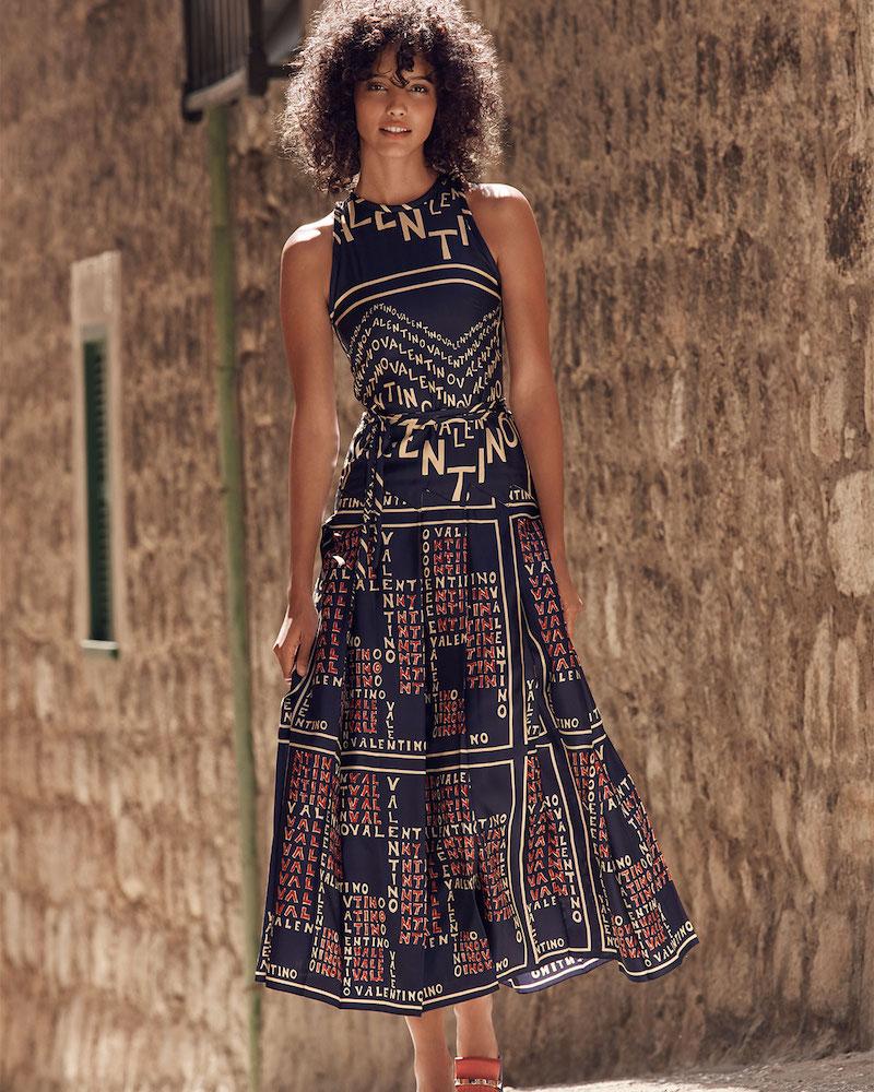 Valentino Sleeveless Logo Puzzle-Print A-Line Ankle-Length Silk Twill Dress