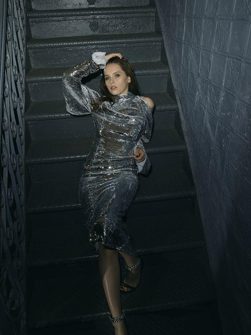 16ARLINGTON Cold-shoulder Sequined Tulle Turtleneck Midi Dress