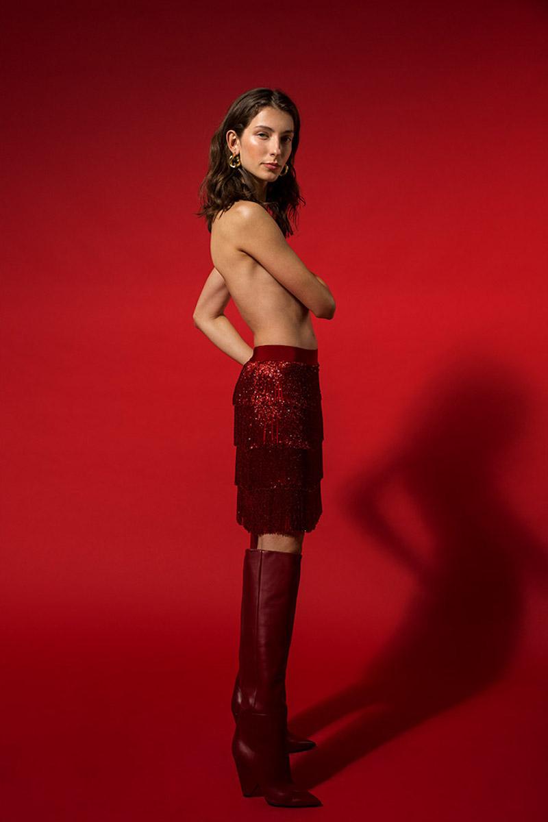 Alberta Ferretti Fringed Crepe De Chine Skirt