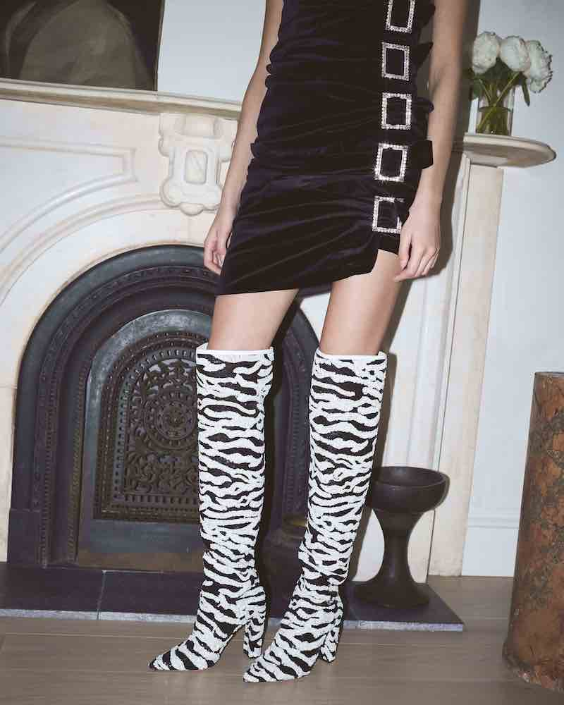 Alexandre Birman Anna Over-the-Knee Zebra Sequin Boots