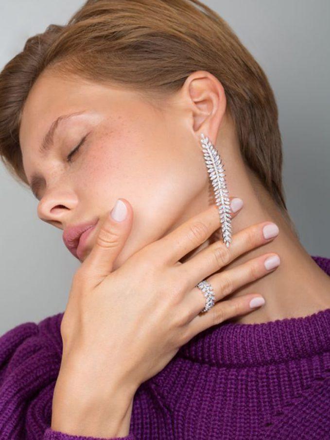 Apm Monaco Silver Palme Long Earrings