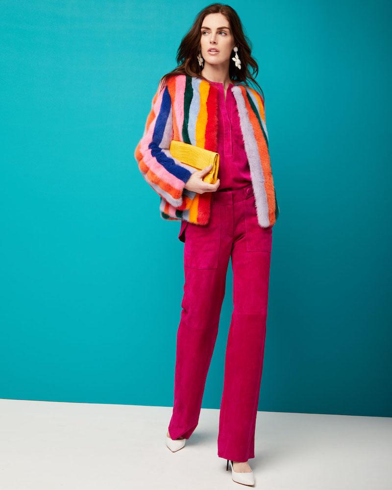 Carolina Herrera Multicolor-Stripes Mink Fur Jacket