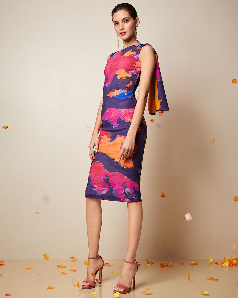 Chiara Boni La Petite Robe Fizzah Sleeveless Asymmetric Batik-Print Body-Con Dress with Draped Shoulder
