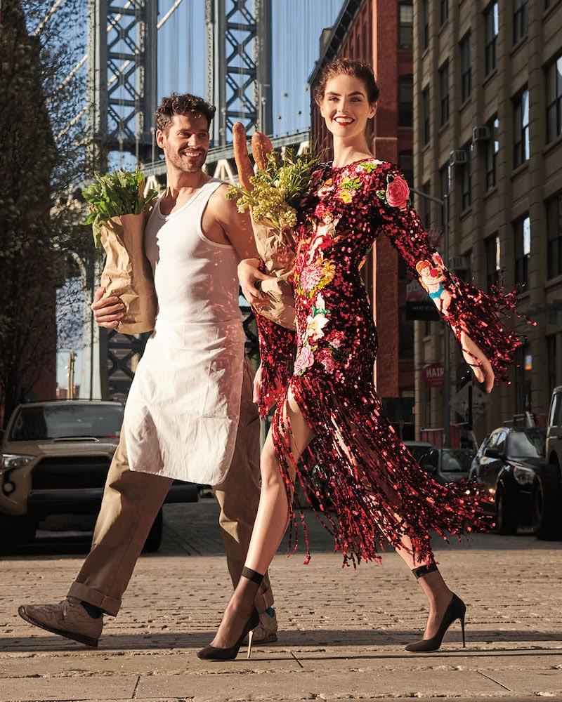 Dolce & Gabbana Long-Sleeve Paillette Sequin Rose-Patch Fringe-Bottom Evening Dress