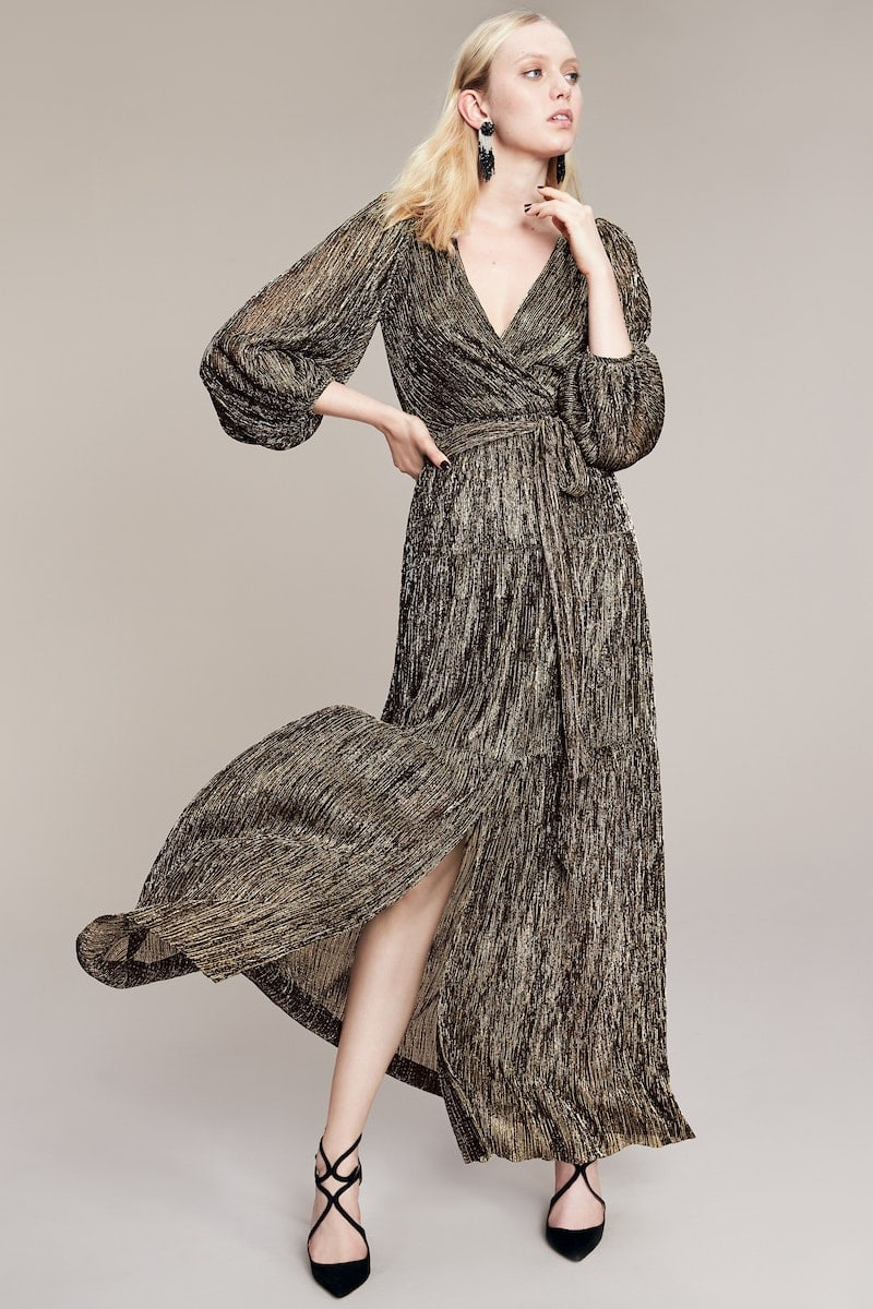 Eliza J Backless Metallic Maxi Wrap Dress