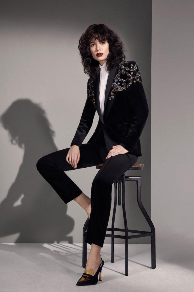 Escada Embroidered Velvet Tuxedo Jacket