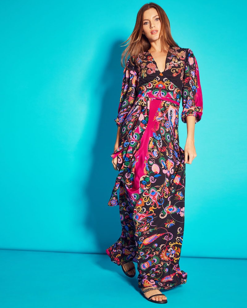 Etro 3 4-Sleeve Floral Paisley V-Neck Gown