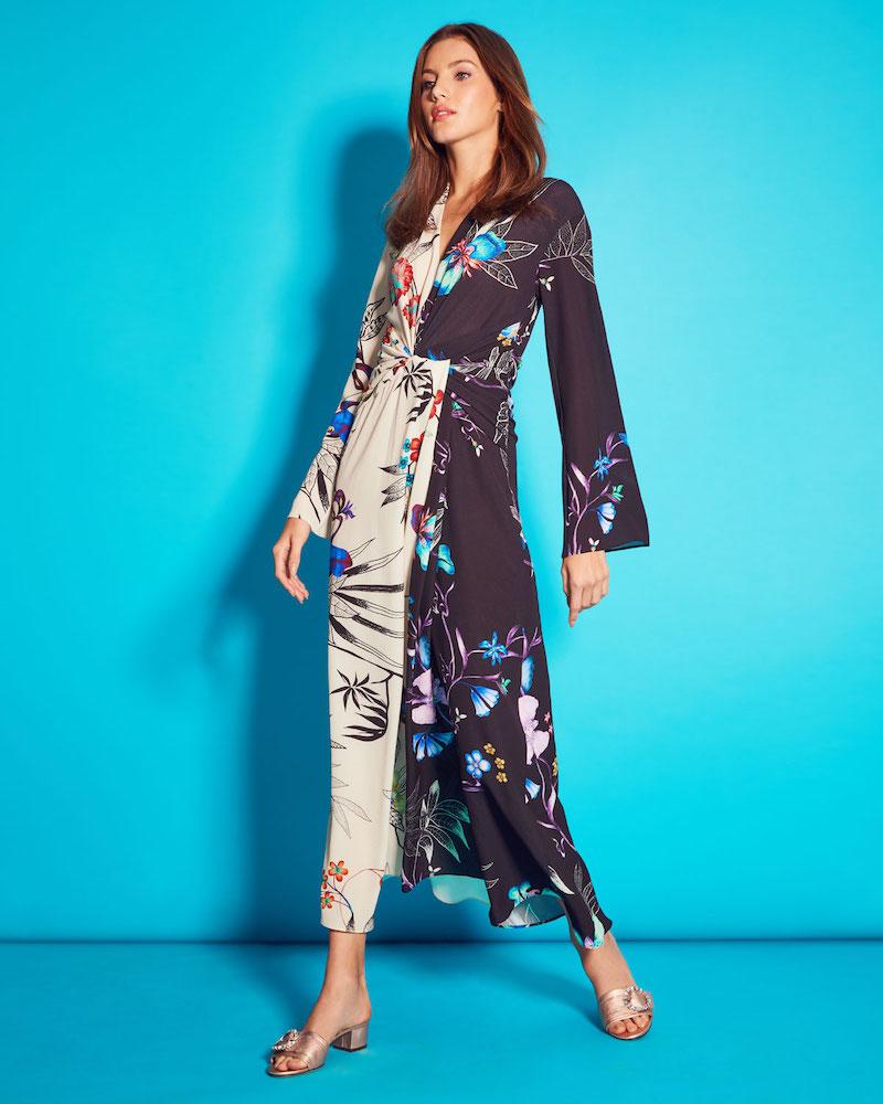 Etro Long-Sleeve Floral-Print Bi-Color V-Neck Shirred Wrap Dress