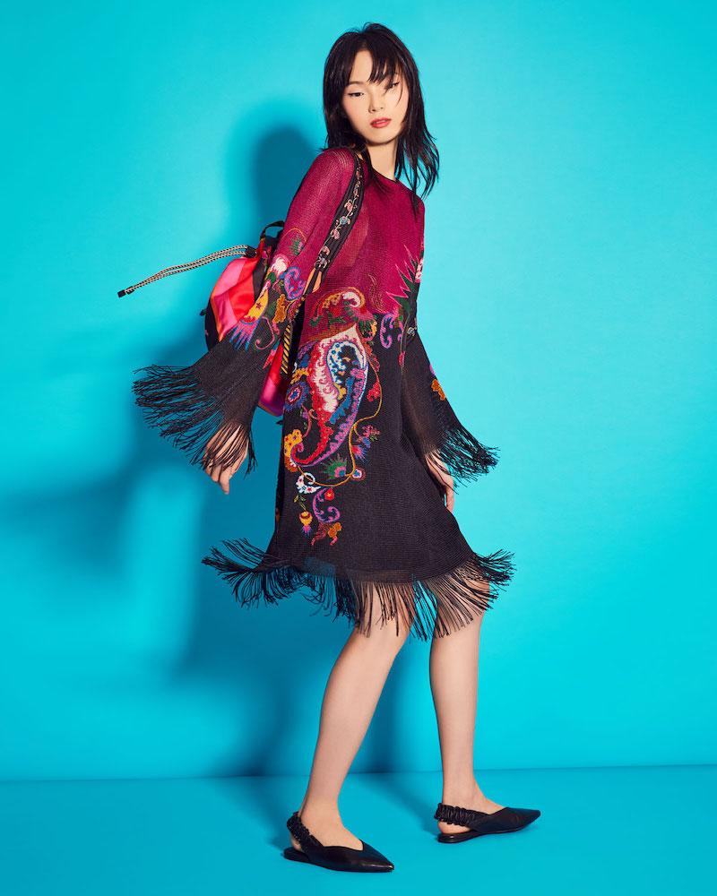 Etro Paisley Knit Fringed Bell-Sleeve Shift Dress