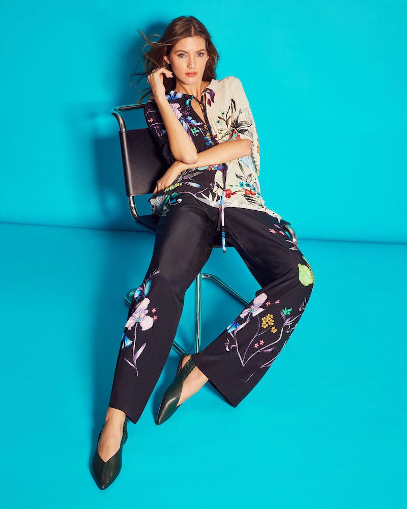 Etro Wide-Leg Tropical-Print Silk Pants