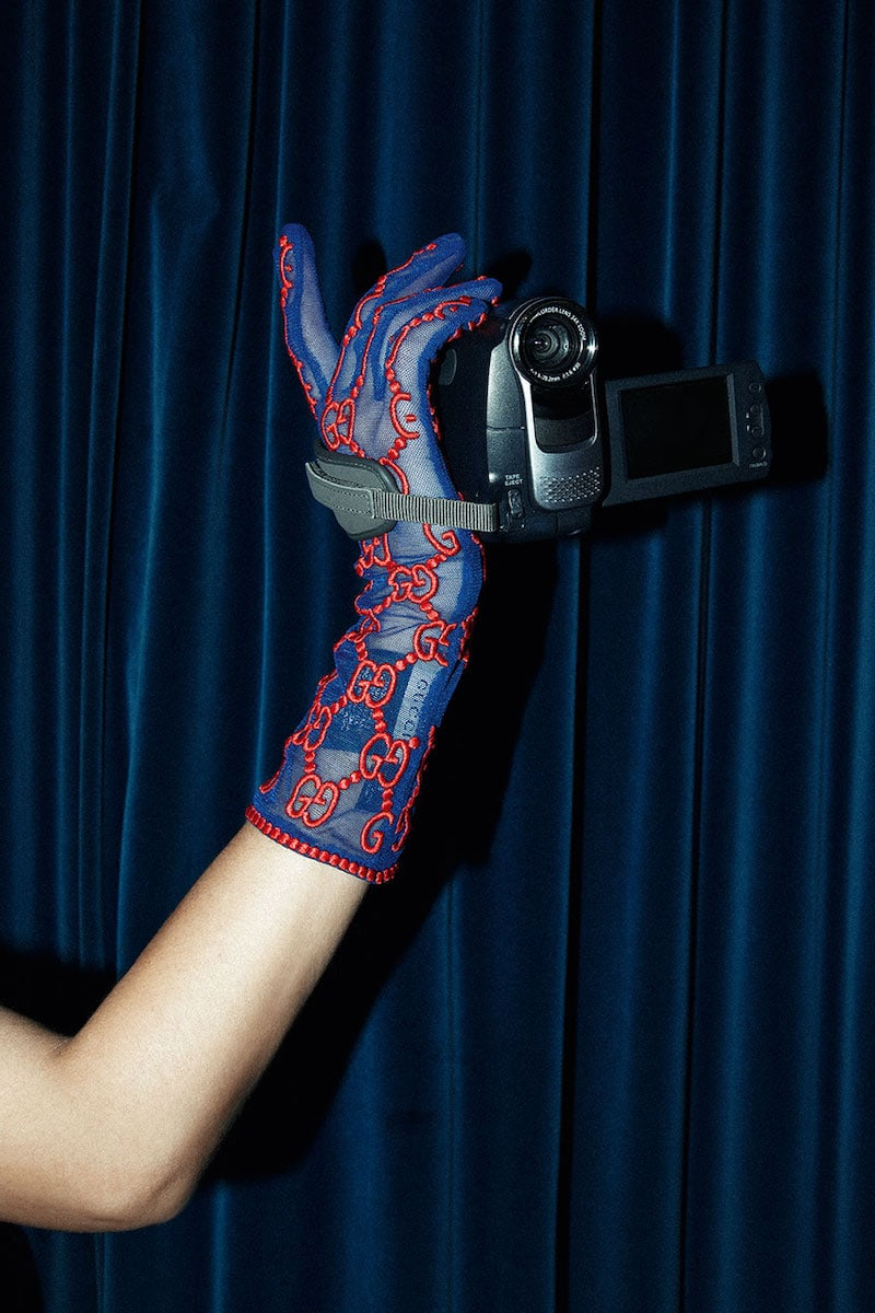Gucci GG Supreme Embroidered Tulle Gloves
