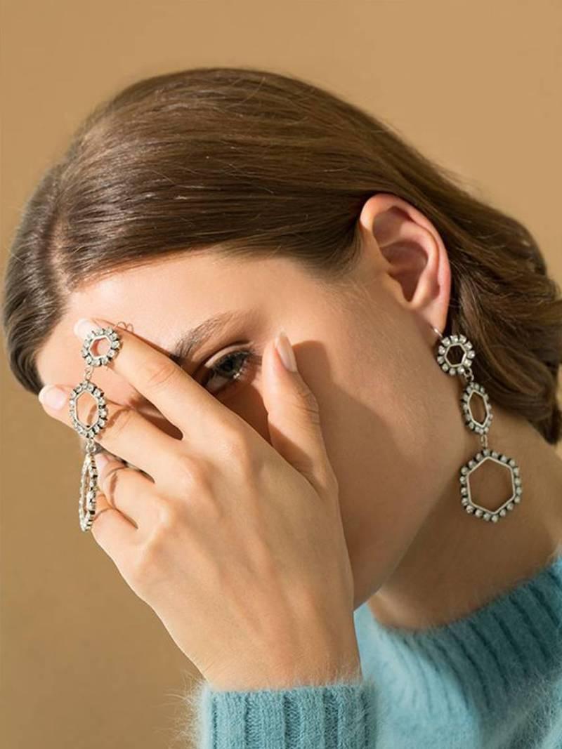 Isabel Marant Metallic Silver Triple Circle Drop Earrings