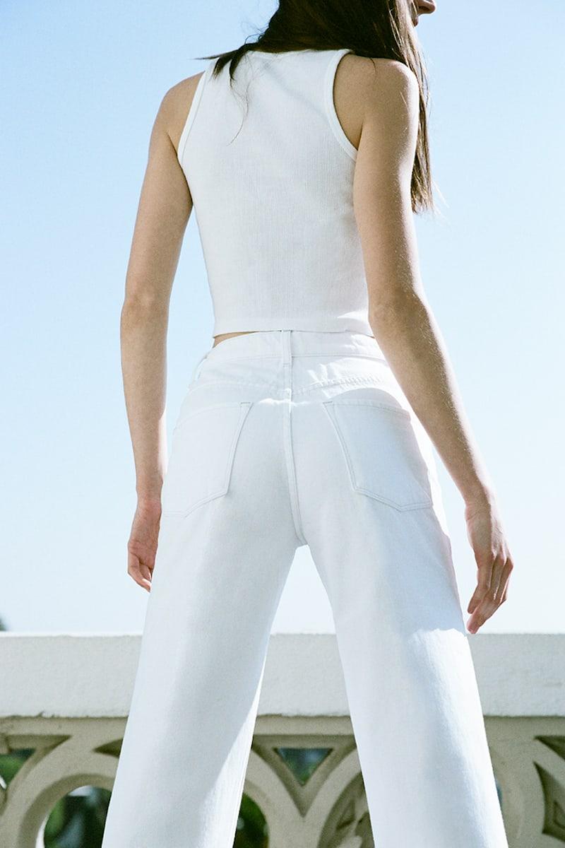 J BRAND Joan High-Rise Wide-Leg Crop in White