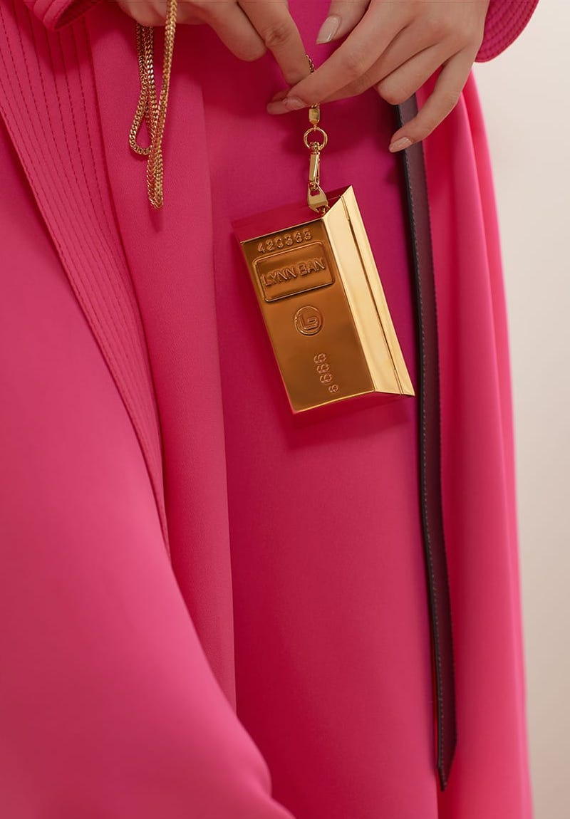 Lynn Ban Bullion 24kt Gold-Plated Necklace Bag