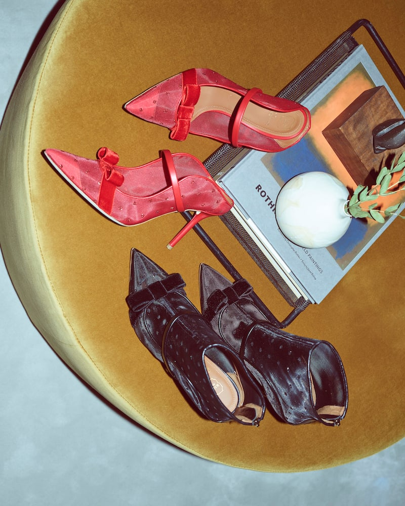 Malone Souliers Marguerite Dotted Mesh Mules