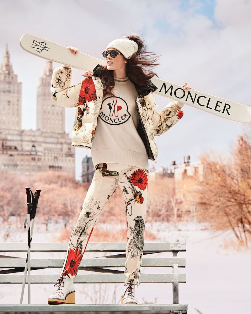 Moncler Caille Floral-Print Puffer Jacket with Removable Hood