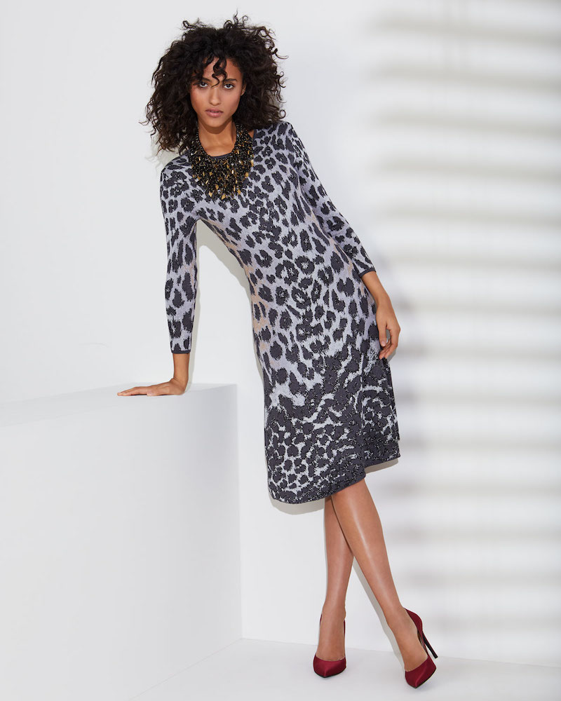 NK32 Naeem Khan Flare Scoop-Neck 3:4-Sleeve Knee-Length Animal-Printed Dress