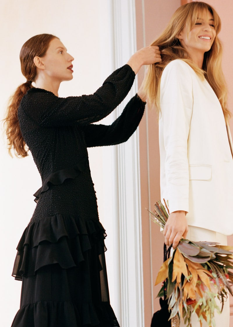 & Other Stories Beaded Ruffle Midi Dress