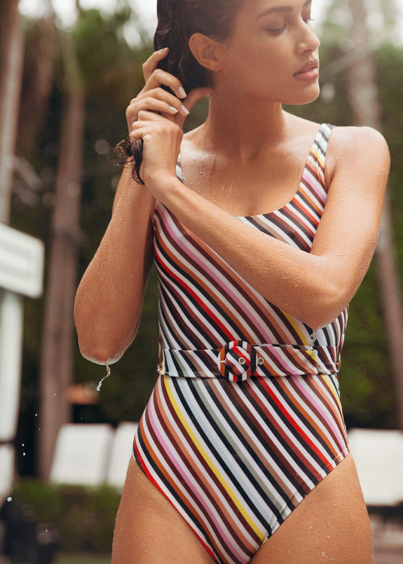 & Other Stories Belted Rainbow Stripe Swimsuit