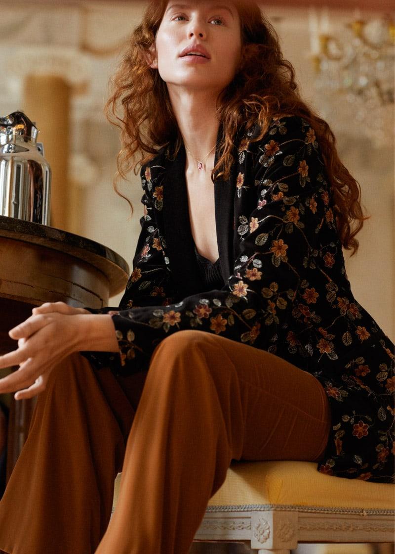 & Other Stories Floral Embroidered Velvet Blazer