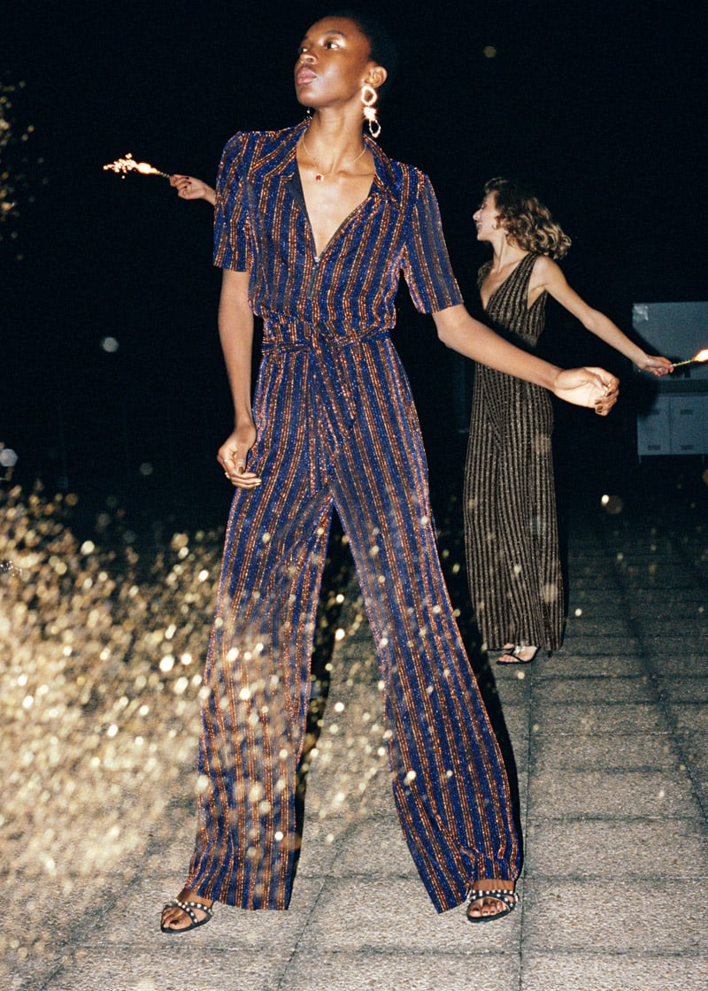 & Other Stories Glitter Stripe Belted Pants