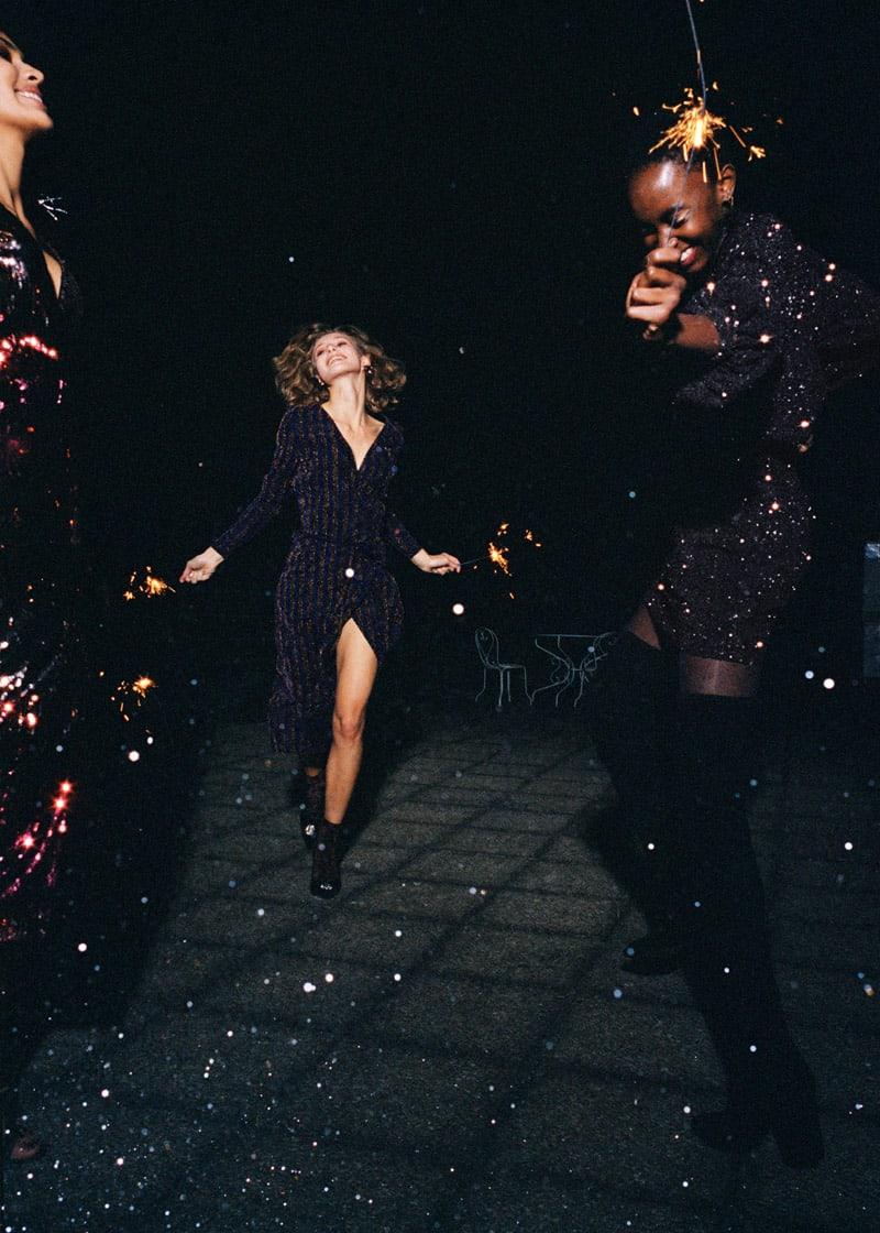 & Other Stories Glitter Stripe Wrap Midi Dress