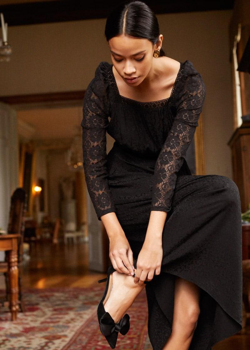 & Other Stories Lace Trim Midi Dress