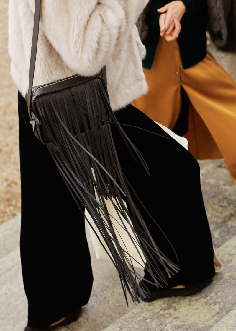 & Other Stories Leather Fringe Crossbody Bag