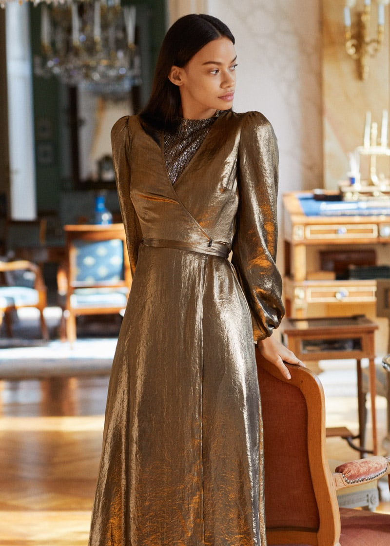 & Other Stories Metallic Satin Midi Dress