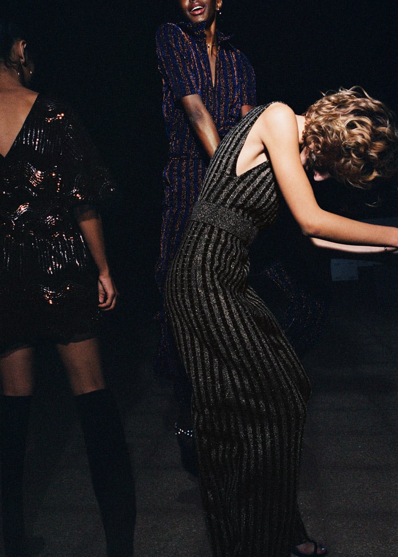 & Other Stories Plunging Glitter Stripe Jumpsuit
