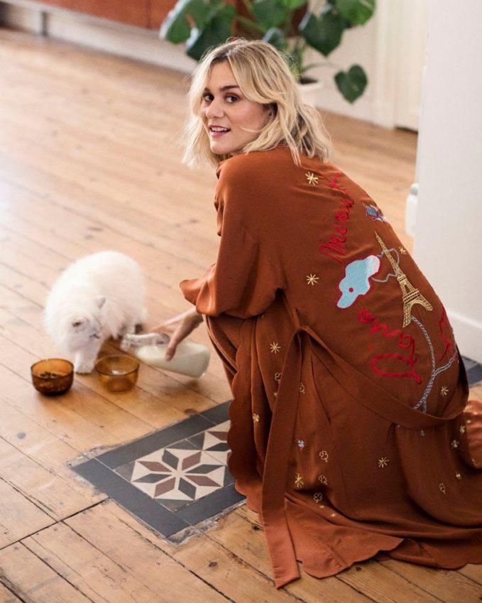 & Other Stories Scalloped Silk Kimono Robe