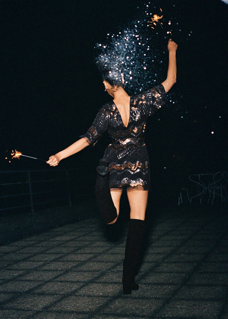 & Other Stories Sequin Embellished Mini Dress