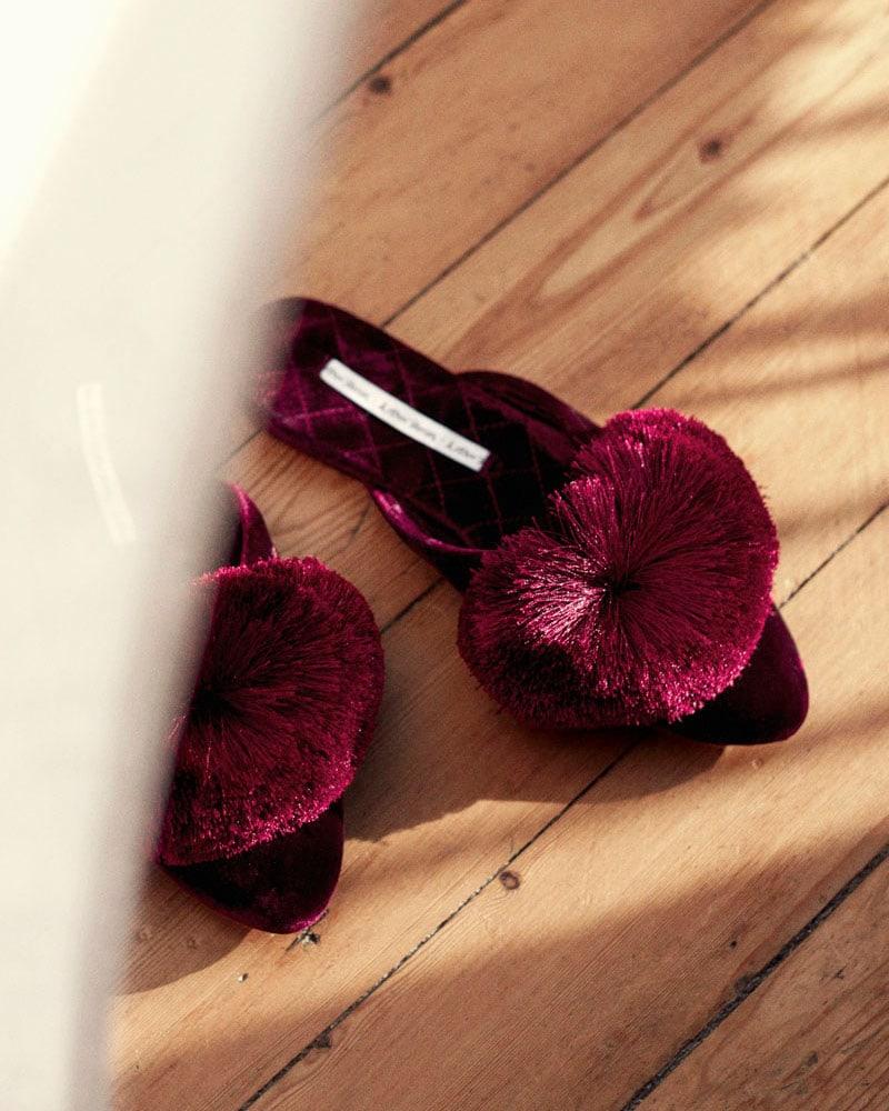 & Other Stories Velvet Pom Pom Indoor Slippers