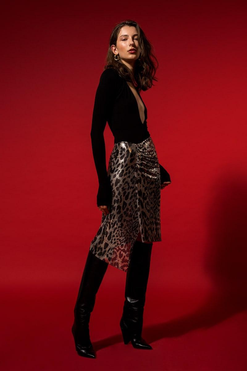 Paco Rabanne Leopard Metal Mesh Skirt