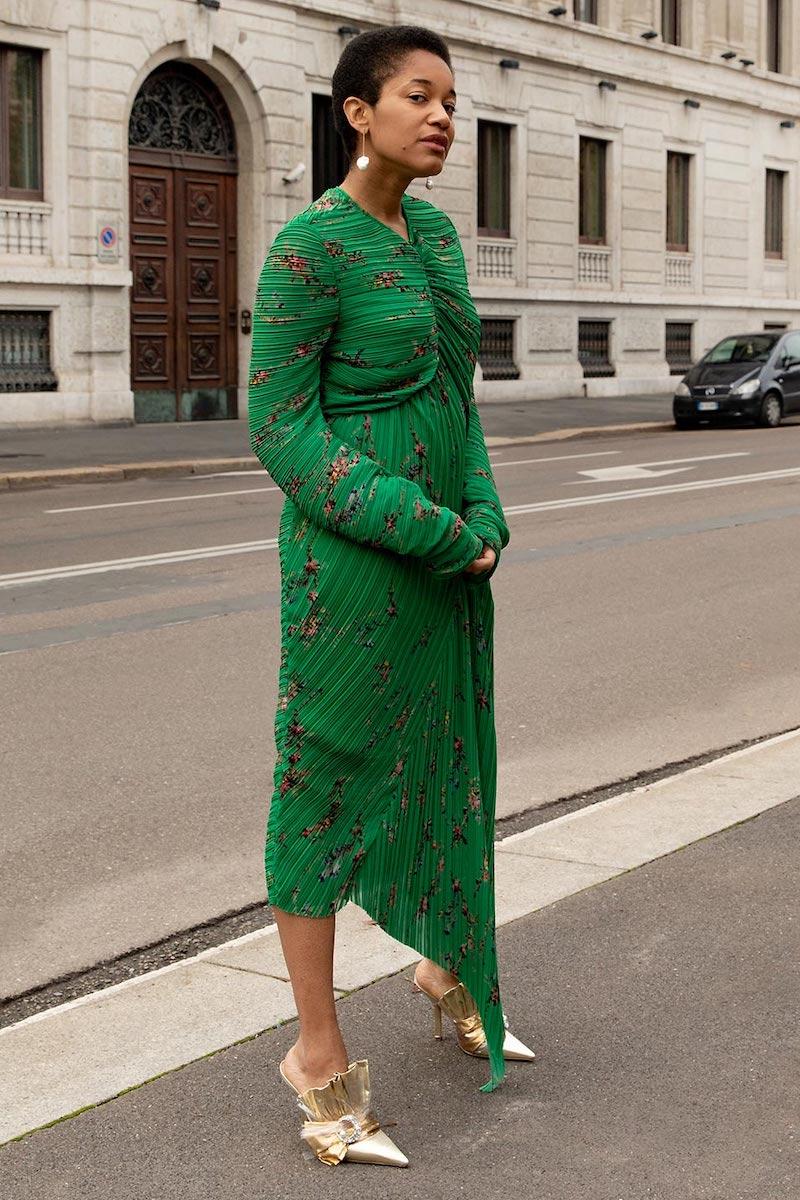 Preen by Thornton Bregazzi Floral-Print Pleated Georgette Midi Dress