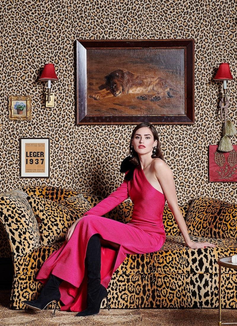 Rebecca de Ravenel Asymmetric Bow Silk-Blend Jacquard Gown