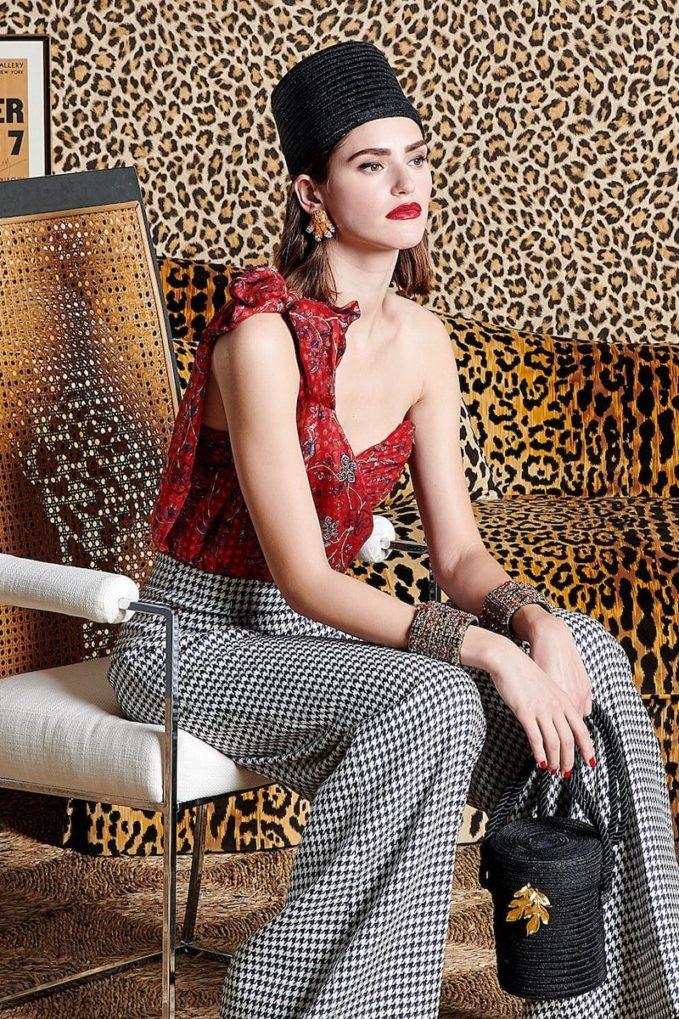 Rebecca de Ravenel Dotty-Print One-Shoulder Silk Bustier Top