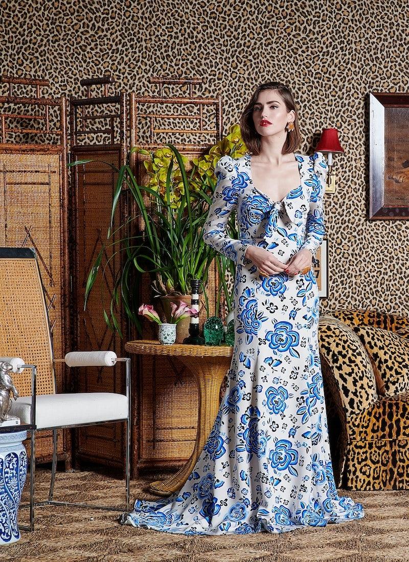 Rebecca de Ravenel Floral Silk Gown