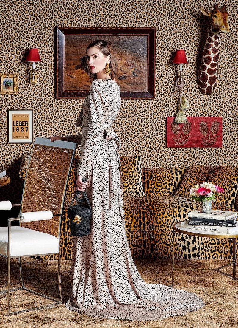 Rebecca de Ravenel M'O Exclusive Tie-Front Polka-Dot Silk-Charmeuse Gown