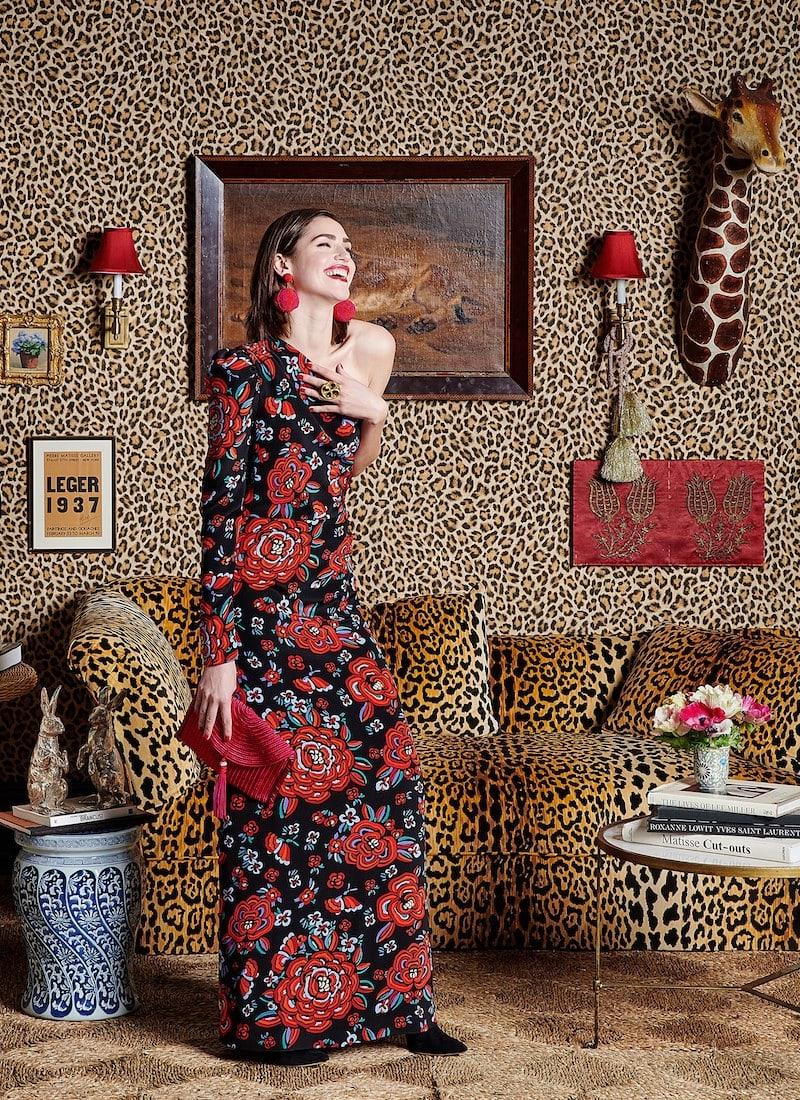 Rebecca de Ravenel Rose-Print One-Shoulder Silk Gown
