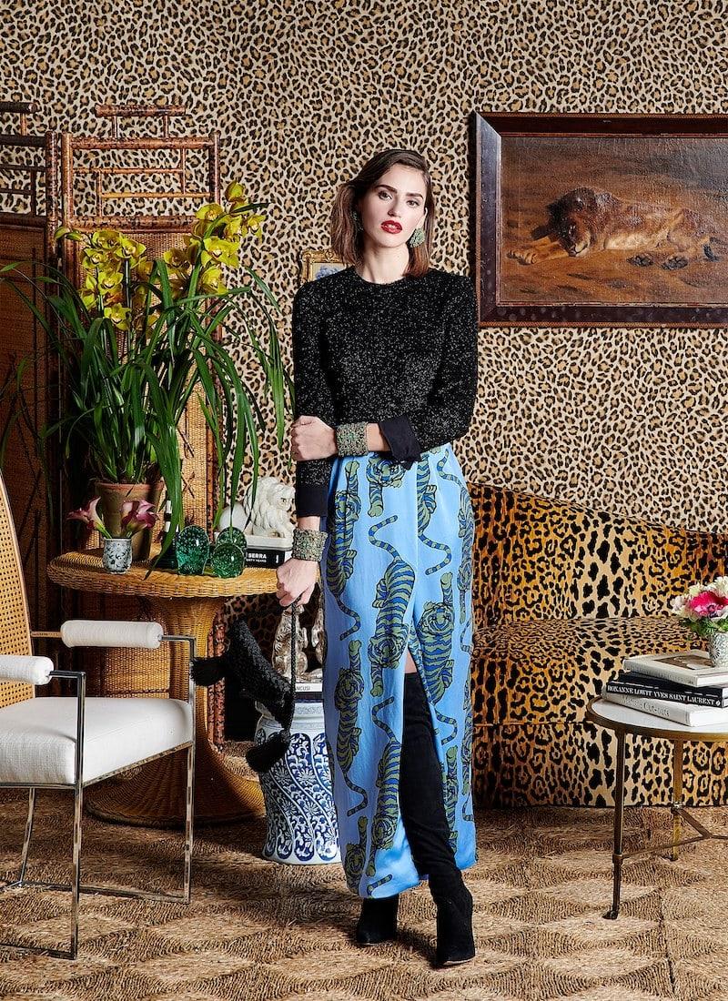 Rebecca de Ravenel Tiger-Print Silk Wrap Skirt