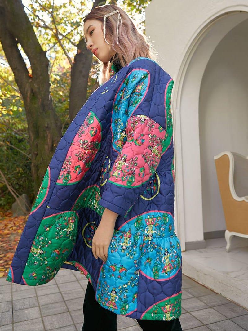Rianna + Nina Anastasia Folk-Print Quilted Silk Jacket
