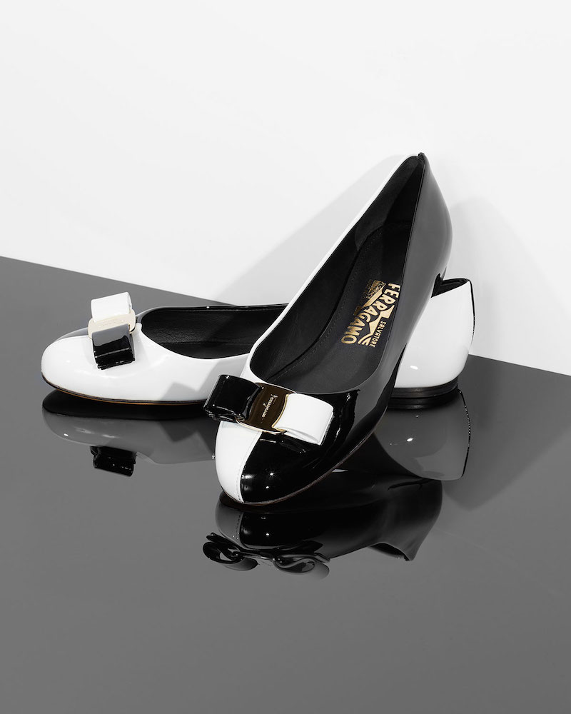Salvatore Ferragamo Varina Colorblock Patent Leather Bow Ballet Flats