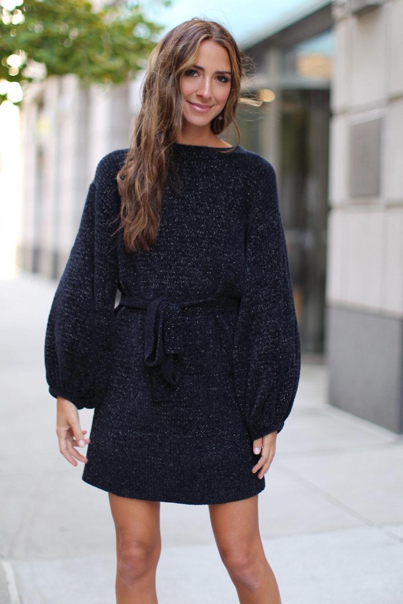 Something Navy Shimmer Sweater Dress