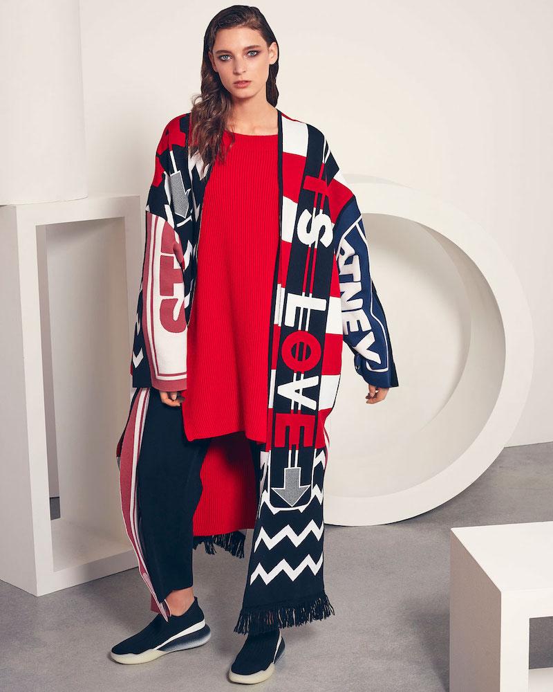 Stella McCartney Logo-Knit Belted Long Cardigan Coat with Fringe