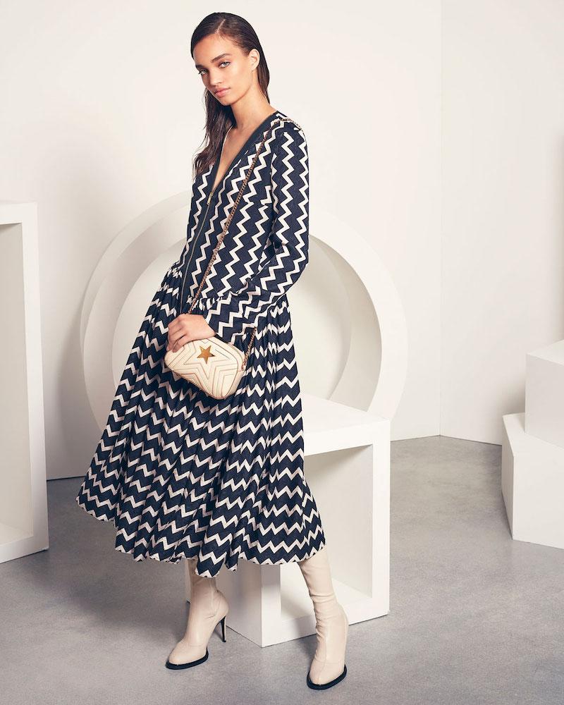 Stella McCartney Zigzag-Print Zip-Front Asymmetric-Hem Silk Dress
