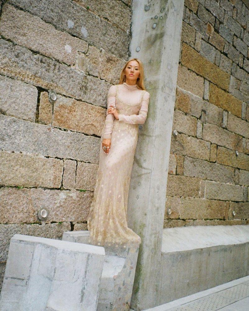 Valentino Long-Sleeve Mock-Neck Point D esprit Lace Blouse